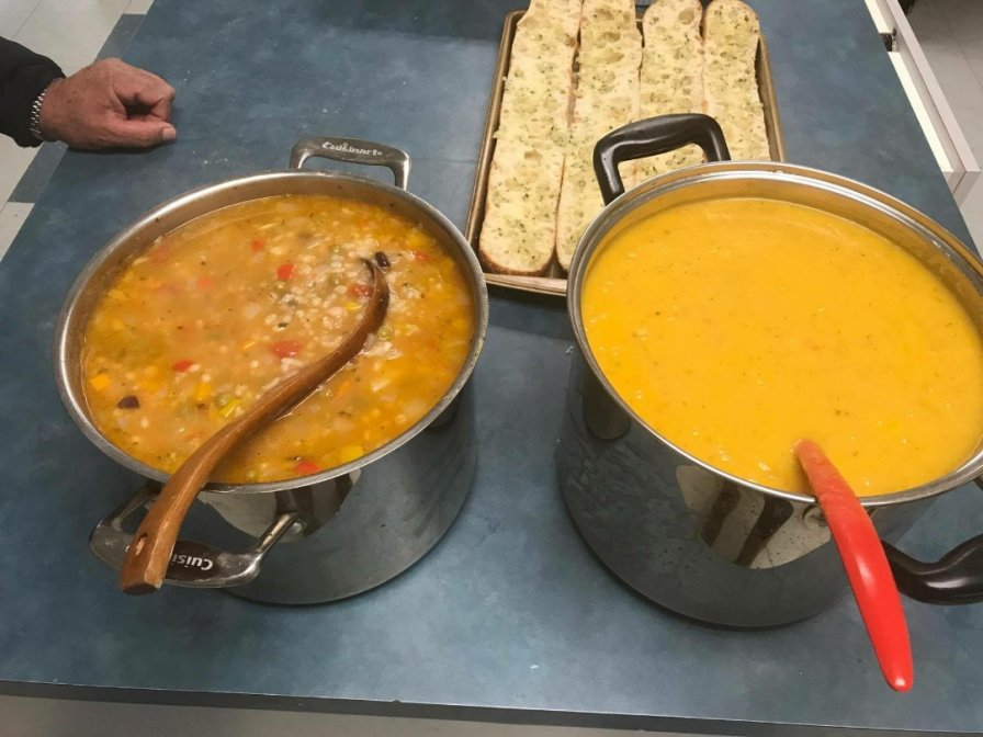 First soup is on the left. Creamy on the right